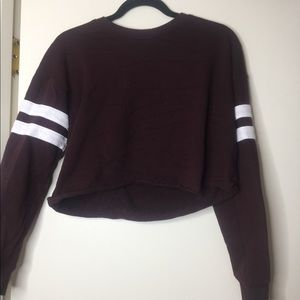 Forever 21 maroon crop sweater varsity medium